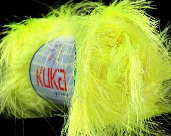 ICE YARNS JUNGLE phosphoric green long eyelash type yarn 50gr. 65 yrds kuka super soft craft rug novelty yarn ships from indiana 20789