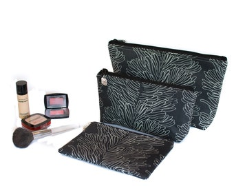 FREE domestic SHIPPING - 3 Sizes - Small - Medium - Large Cosmetic Bag with Zippered top - Black Coral Print