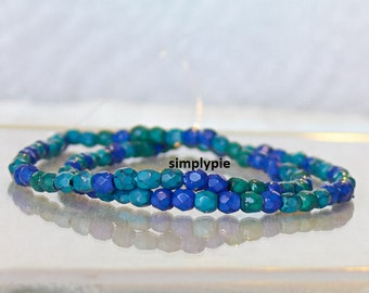 Snake Ocean Mix, Czech Beads 3mm 50 Fire-Polished Faceted Round Glass