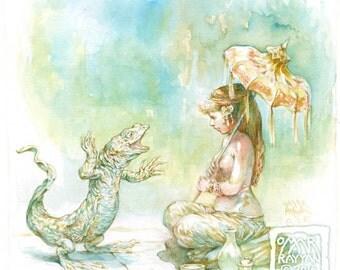 The Lizard's Tale - original watercolor painting fantasy art