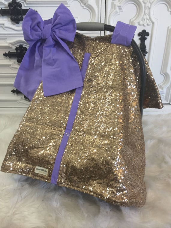 Gold and Lavander / CAR SEAT COVER / car seat canopy / nursing cover / carseat cover / carseat canopy / ooak / sequin / infant car seat cove