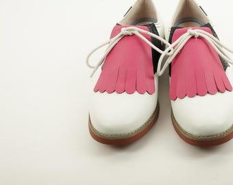 Raspberry Pink Golf Shoe Kilties, Golf Shoes for Women, Pink Kiltie, Shoe Tongue, 1950s Fashion, Golf Gifts, Swing Dance Shoe Decoration