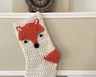 Crochet fox Christmas stocking