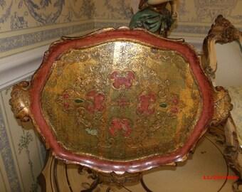 Vintage Italian Florentine Vanity Tray Salmon Pink  Romantic Hollywood Regency