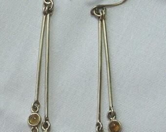 Gemstone sterling silver hook earrings in peridot, garnet rainbow moonstone and citrine