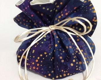 Travel Jewelry Pouch Organizer in Navy Space Odyssey Batik Print