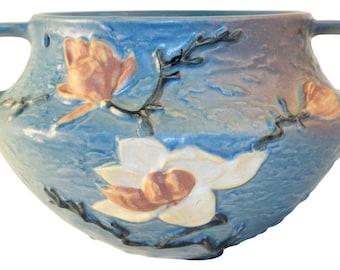 Roseville Pottery Magnolia Blue Hanging Basket 469-5