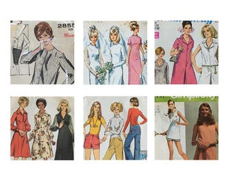 Vintage Sewing 6 Pattern Lot 1960s, 1970s • Advance 2855 • Simplicity 6176  7581 5968  5637  5417 | Bust 36 | Wedding | Tennis | Dresses