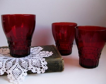 Vintage Royal Ruby footed tumblers Ruby red quilted glasses Cranberry red tumblers