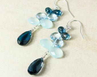London Blue Topaz Cluster Earrings, Aqua Chalcedony, Sky Blue Topaz, December Birthstone Earrings