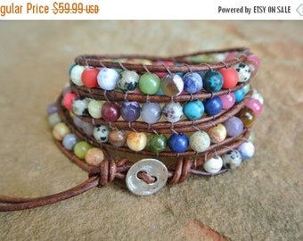 SALE 25% OFF Classic Justhistuff  Gemstone Beaded Leather Wrap Bracelet