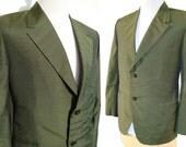 Vintage Sharkskin Jacket Green Silk Rockabilly Bespoke Blazer M