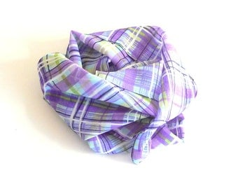 Silk - Plaid - Oblong - Scarf - Designer - Elie Tahari - Lavender - Purple - Chartreuse - White - Black - Recycled - Preppy