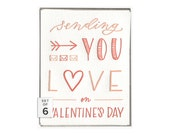 Sending Love valentine's day letterpress card - boxed set