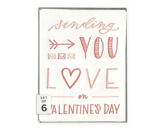 Sending Love valentine's day letterpress card - boxed set