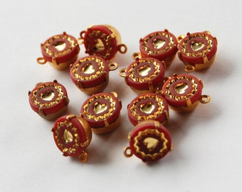 Vintage Brick Red Glass Gold Heart Beads • 8mm 39ss • Pendant or Connector
