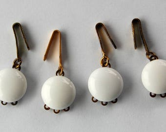 Vintage 3 Strand White Glass Button Clasp Eends Pendant Bails • 4 count • 15mm