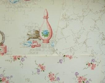 Vintage Wallpaper Bathroom Bedroom Perfumes Potions Home Decor Wall Art 3 Sheets 18 x 12, 1960s
