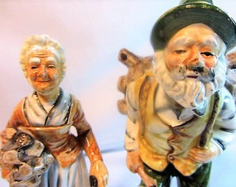 Made in Japan Vintage Old Man and Old Women Ceramic Figurines, Old Man Sticks on his Back and Old Women Carring Sticks Figurines
