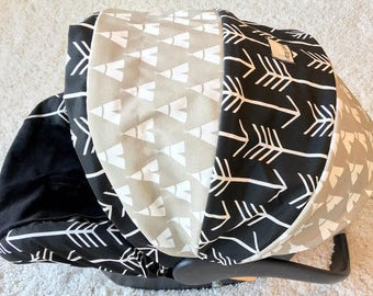 Teepees & Arrows Infant Car Seat Cover, Baby Boy Car Seat Cover, Baby Car Seat Cover, Top Selling Infant Car Seat Cover, Teepee Baby Cover