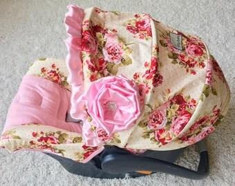 Custom Infant Car Seat Covers, 4 Pc Set for Car Seat, Rambling Roses Baby Car Seat Cover, Baby Car Seat Covers, Ritzy Baby Car Seat Covers