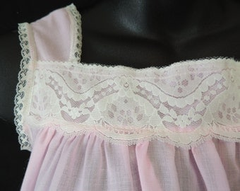 vintage pink nightgown 60's summer lace long gown medium new old stock