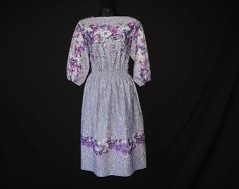 purple floral disco dress vintage 1970s boho falling flower striped frock large
