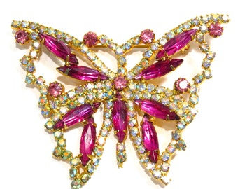 Fuschia Pink and AB Rhinestone Butterfly Brooch Vintage 1950s Figural Broach