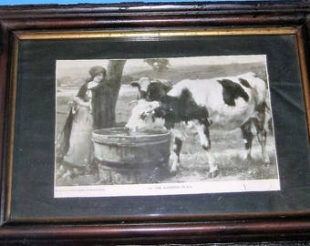 Antique Wooden Framed The Watering Place Picture