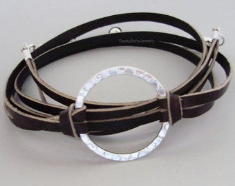 INFINITY Hammered Silver Circle  FLAT Leather Cord - Genuine NATURAL Indian Leather Wrap Bracelet Custom  Triple Wrap Bracelet Usa 225a