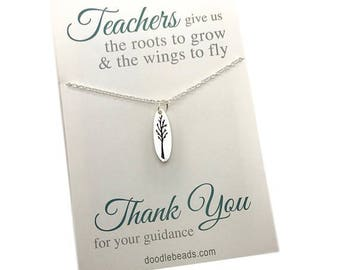 Teacher Gifts, Teacher appreciation Gift,  Teacher Thank you,  Carded Tree Necklace with message, Tree Necklace, gold or silver oval tree