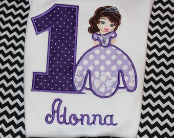 1st birthday Sofia inspired Disney Princess birthday shirt - baby bodysuit, tshirt, or dress- can change colors