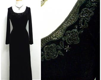 1980s Black Velvet dress Beaded Evening Gown Great Gatsby Maxi Evening Prom Cocktail Dress Size 10