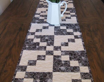 Black and White Four Patch Quilted Table Runner