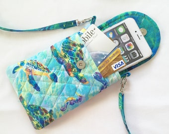 Iphone 6 Plus Smart Phone Gadget Case Detachable Neck Strap Turtles Blues
