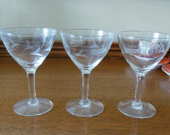 "Vintage ""Wheat"" Etched Cordial Stemware Glasses - 3 Total"