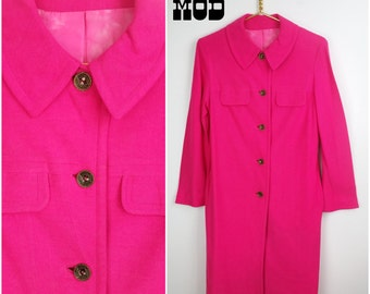 Vivid Vintage 60s Bright Pink Coat Dress - Button Down and Lined with Pockets!