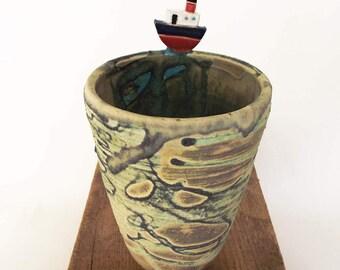 Ceramic boat pot sea glaze pottery ships