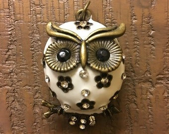 Jewelry pendant metal owl in white and black