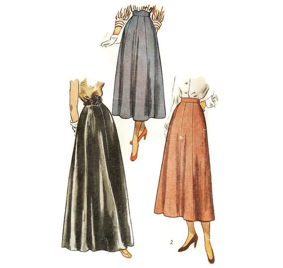1940s Day or Evening Skirt Pattern Simplicity 2779 W26 H35