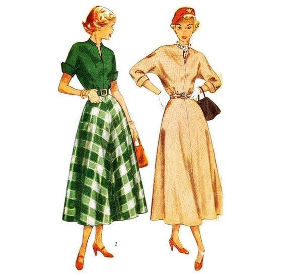 1940s Day Dress Pattern Simplicity 2764 B33 Sz 15 Junior Size