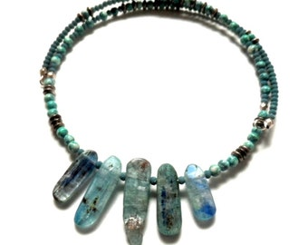 New! - choker, beaded, modern,wrap style  kyanite choker necklace