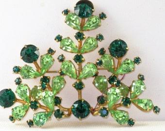 Vintage Juliana D & E Emerald and Mint Green Rhinestone Brooch Pin (B-3-6)