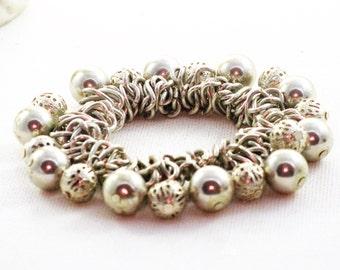 Vintage Silver Tone Dangling Beads Cha Cha Stretch Bracelet (BR-2-4)