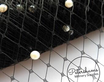 Pearl Embellished Veiling for Wedding birdcage veils & fascinator millinery 1m (1.09 yards) - Black