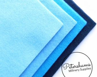 Pack of 8 Sheets A4 Acrylic Felt for Crafting - Assorted Blue