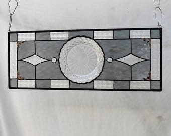 Stained Glass Transom Window, Recycled Depression Glass Waterford Plate, Stained Glass Valance, Antique Glass Window Panel, Vintage Glass
