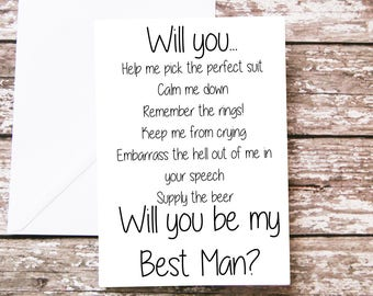 Will you be my Best Man Card, Groom Proposal, Funny Bridal Party, For Him, Wedding Party - Best Man - Usher - Groomsman - Groomsmen - Stag