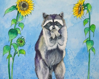 Mr. Raccoon Archival Watercolor Art print, Nursery art print, 8x10, 11x14.