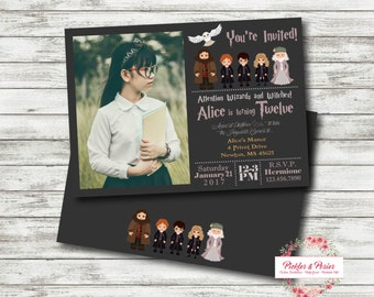 Harry Potter Birthday Invitation - Invitation with Photo - Printable Invitation - Digital Files - Harry Ron Hermione Hedwig Dumbledore